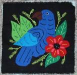 BLUE PAROT & RED FLOWER